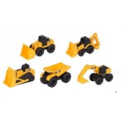 CAT Mini Machine Caterpillar Construction Toy Truck Mini Machine Set of 5, Dump Truck, Bulldozer, Wheel Loader, Excavator, and Backhoe Free Wheeling Vehicles