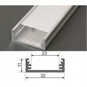 Alumínium U profil LED szalaghoz , 1 v. 2 méter , MATT fedővel , WIDE