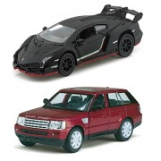 Playking Kinsmart Combo of Range Rover Sport 1:38 and Lamborghini Veneno Scale Model 5'' Die Cast Metal, Doors Openable and Pull Back Action Car (Color May Vary)