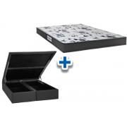 Conjunto Cama Box Baú - Colchão Probel de Espuma D33 ProDormir Advanced + Cama Box Baú Nobuck Nero Black - Conjunto Box King Size - 193 x 203