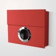 Radius Design Letterman XXL Briefkasten rot (RAL 3020) ohne Klingel mit Pfosten in Briefkastenfarbe