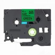 Banda compatibila Brother TZ-FX711 / TZe-FX711, 6mm x 8m, flexi, text negru / fundal verde