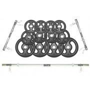 Kit Anilhas Ferro Fundido 40Kg + 2 Barras de 40cm + Barra de 150cm