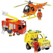 Fireman Sam Deluxe Friction Rescue Jupiter, Helicopter & Rescue Vehicle Set