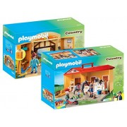 Playmobil Country Playset Bundle with Take Along Horse Stable Playset and Pony Stable Play Box Playset