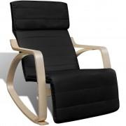 vidaXL Fotel bujany z giętą ramą, materiałowy, regulowany, czarny
