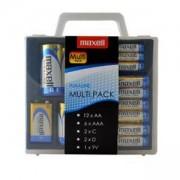 Мултипак алкални батерии в PVC case: 12*AA; 6*AAA; 2*C; 2*D; 1*9V MAXELL, ML-BA-MULTIPACK