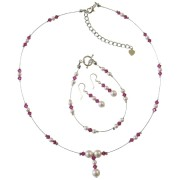 White Pearls & Fuchsia Crystals Bridal & Bridesmaid Jewelry Set