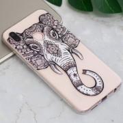 Para Huawei P20 Lite / Nova 3e Tattoo Elefante En Relieve Patrón TPU Suave Aceite De Proteccion Volver Caso