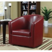 902099 Red leather like vinyl upholstered barrel shaped accent side chair with swivel base