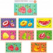 Puzzle cu piese betisoare din lemn Creative Puzzle Stripes Fructe - Krista and reg