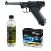 Set pistol airsoft 2 jouli + 10 capsule CO2 + flacon 2700 buc bile 0.20 grame Umarex Legend P08 full metal
