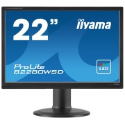 iiyama ProLite B2280WSD-B1 22' LED LCD 1680x1050 13cm Height adj 250cd/m² speakers VGA DVI 5ms TCO6