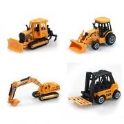 Set of 4 Kids Toddler Construction Vehicles Set 1:64 Vehicles Toys (Forklift,Bulldozer,Excavator,Derrick)