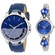 MACRON W-218 Couple Watch Combo Watch Blue Belt MultiColor Dial with Blue dial Silver watch 218