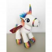Unicornio Pony Pegaso De Peluche Arcoiris 30 Cm Blanco