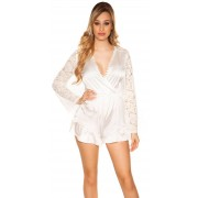Cosmoda Collection Sexy v-hals opening playsuit in satijn look wit