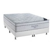 Conjunto Box Colchão Ortobom Pocket Freedom + Cama Couríno White - Conjunto Box King Size - 186 x 198
