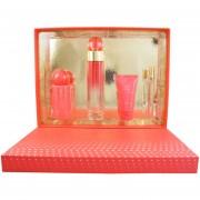 Set 360° Coral 4Pzs 100 Ml Eau De Parfum Spray + Body Mist 118 Ml Spray + Hand Cream 57G + 10 Ml Spray De Perry Ellis