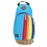 Rainbow color cruz cuerpo bolsa mochila para las mujeres - azul cielo
