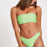 River Island Womens Green ribbed bandeau bikini top (10)