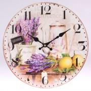 Ceas de perete din lemn Lavandă, 34 cm