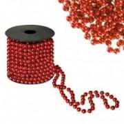 Sirag margele decorative de Craciun pentru brad 8mm x 10m rosu