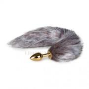 EasyToys arany színű anál tágító rókafarokkal - kicsi