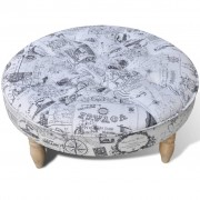 vidaXL Vzorované okrúhle sedadlo/podnožka