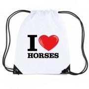 Bellatio Decorations Nylon gymtasje I love horses wit