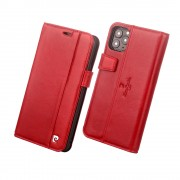 PIERRE CARDIN Litchi Skin Genuine Leather Phone Shell with Card Slots Case for iPhone 11 Pro 5.8 inch - Red