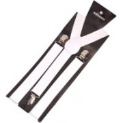 Mr. Willian Y- Back Suspenders for Men, Women(White)