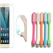 Huawei Honor 4X 03mm Curved Edge HD Flexible Tempered Glass with USB LED Lamp