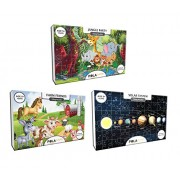 Pola Puzzles Solar System Jungle Party Farm Friends Tiling Puzzles 60 Pieces For Kids Age 5 years and above Multi Color Size 36CM X 21CM Jigsaw Puzzles for Kids - Set Of 3 Jigsaw Puzzles