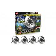 Set 4 mini lampi cu panou solar, Disk Lights