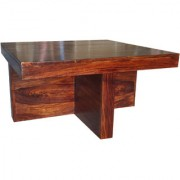 Soni Art Exports Brown Color Irani Sheesham Wooden Coffee Table With Seating Stools With Cushion 36x36x19 inch