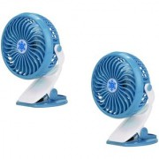 SUREELEE Set of 2 360 Degree Rotate Rechargeable Clip Handy Mini USB Fan (BLUE)