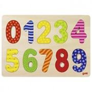 Puzzle lemn Numere, 10 piese - cifre multicolore