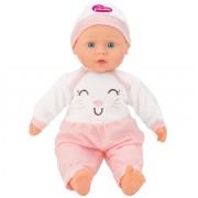 Papusa fetita cu sunete 40 cm Globo Bimbo, cu costum pisicuta roz si caciula