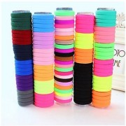 AUCH 100 Counts Value Pack Seamless Stretchy Hair Bands Elastics Ties Ponytail Holders Ponytailers(Assorted Color)