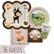 Big Dot of Happiness Woodland Criaturas - Baby Shower o fiesta de cumpleaños platos, vasos, servilletas, - Bundle de vajilla para 16
