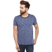Vimal-Jonney Blue Torn Look Round Neck Tshirt For Men