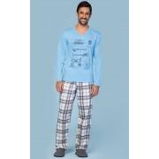 Pijama Masculino Adulto Longo Lua Encantada Azul com Estampa de Instrumentos Musicais e Calça Xadrez