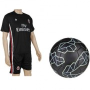 Combo of Messi Black Football (Size-5)with Suit (Jersey + Shorts)