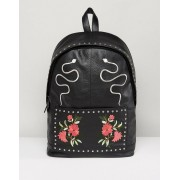 ASOS Leather Backpack In Black With Embroidered Design - Black