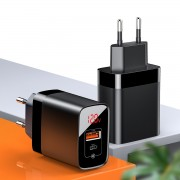 BASEUS Mirror PPS Quick Charge 18W A+C Wall Charger - EU Plug - Black