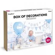 Party csomag, 1 éves születésnapra, 33 darabos, kék