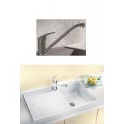 BLANCO DARAS silgránit HD csaptelep - BLANCO ZIA 45 SL gránit mosogatótálca szett – gyöngyszürke