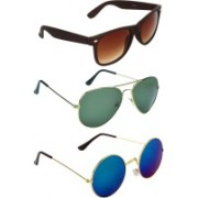Zyaden Wayfarer, Aviator Sunglasses(Brown, Green, Blue)