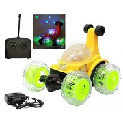 MousePotatoTM 360 Degrees Plastic Rotating Front Axle Spinning wheels Stunt Car with Colourful 3D Lights and Music (Yellow)